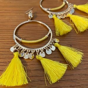 Lilly Pulitzer Yellow + Gold Tassel Hoop Earrings